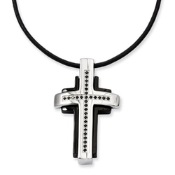 Black Bow - Two-Tone Stainless Steel And Black Diamond Cross Necklace