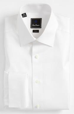 David Donahue  - Tonal Solid Trim Fit Tuxedo Shirt