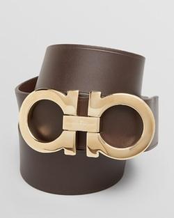 Salvatore Ferragamo  - Leather Double-Gancini Power Buckle Belt