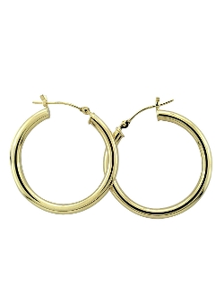 Lord & Taylor  - Yellow Gold Polished Hoop Earrings