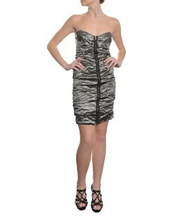 Nicole Miller - Ruched Crinkled Metal Poly Woven Dress