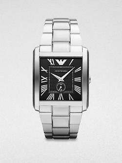 Emporio Armani  - Rectangular Stainless Steel Watch