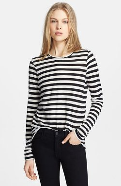 Proenza Schouler  - Stripe Tissue Cotton Long Sleeve T-Shirt