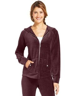 Style&co.  - Petite Zip-Front Velour Hoodie