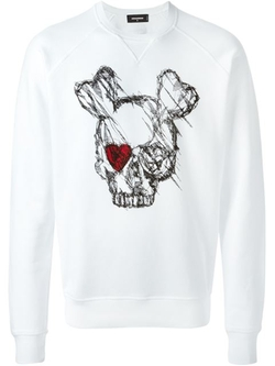 Dsquared2   - Skull Sketch Print Sweatshirt