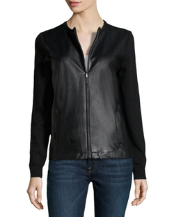 Neiman Marcus  - Cashmere Faux-Leather Paneled Zip Jacket