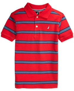 Nautica  - Boys Striped Pique Polo