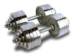 MTN Gearsmith - Gearsmith Heavy Duty Adjustable Cast Iron Chrome Weight Dumbbell Set