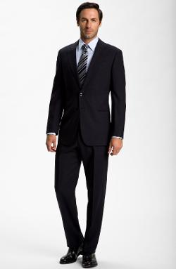 Armani Collezioni  - Trim Fit Black Wool Suit