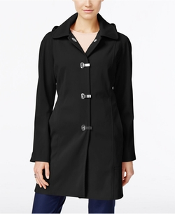 London Fog - Clip-Front Hooded Raincoat