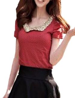 Allegra K - Peter Pan Collar Short Sleeves Dots Shirt