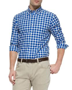 Ermenegildo Zegna  - Woven Check Button-Down Shirt