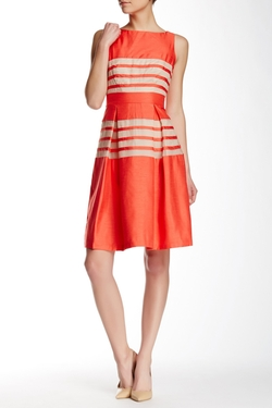 Taylor - Shantung Stripe Flare Dress
