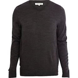 River Island - Dark Grey V-Neck Sweater