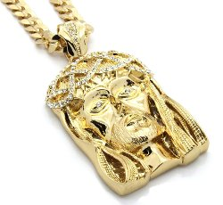 Cuban Chain - Crowned Jesus Large Gold Plated Iced Out Pendant 30 Inch Necklace Gold