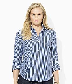 Ralph Lauren  - Woman 3/4-Sleeve Striped Dress Shirt