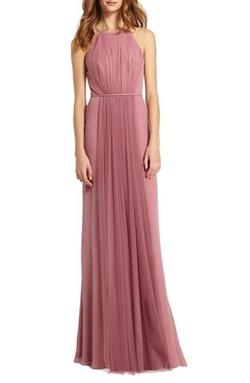 Monique Lhuillier Bridesmaids - Chiffon & Tulle Halter Gown