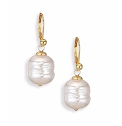 Majorica  - Baroque Pearl Yellow Gold Huggie Drop Earrings