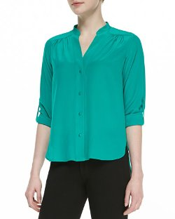 Diane Von Furstenberg - Harlow Long-Sleeve Pleated Shoulder-Blouse