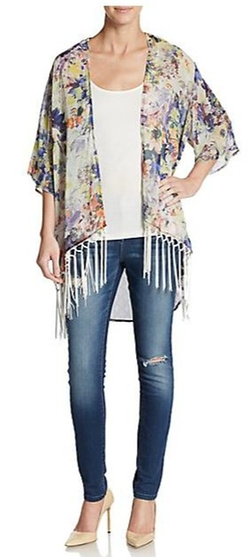 West Kei - Tasseled Multicolor-Print Kimono Cardigan