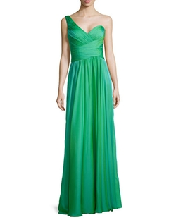 La Femme - Ruched One-Shoulder Gown