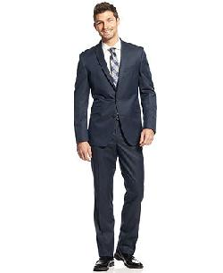 Kenneth Cole Reaction  - Blue Mini-Texture Suit Slim Fit