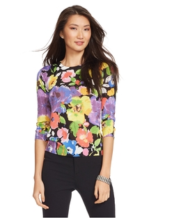 Ralph Lauren - Floral-Print Cotton Sweater