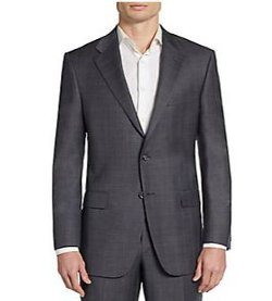 Hickey Freeman  - Regular-Fit Sharkskin-Plaid Worsted Wool Suit