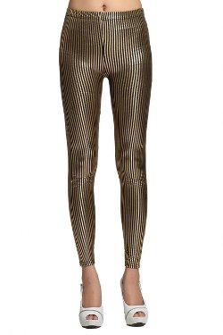 Bigood  - Gilding Vertical Stripes Tight Leggings