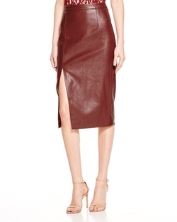 Bardot - Faux Leather Side Slit Pencil Skirt