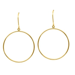 Gold-Earrings-Hoops-Studs - Small Flat Ring Drop Freeform Earring