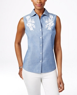 Karen Scott - Embroidered Sleeveless Shirt