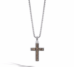 John Hardy  - Lava Smoky Quartz Cross Pendant Necklace