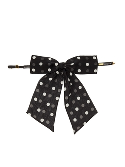 Saint Laurent  - Lavaliere Polka Dot Print Silk Bow Tie