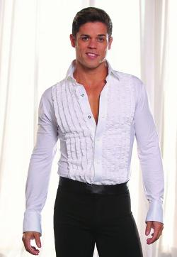 Dance America - Ruffled Tuxedo Latin/Smooth Shirt with Dance Trunks