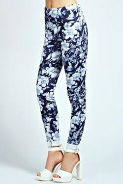 KLARA - Navy Floral Print Side Zip Scuba Treggings