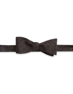 Black Brown 1826  - Textured Silk Blend Bow Tie