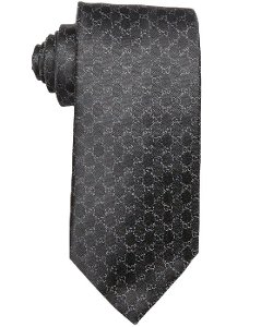 Gucci  - Grey Blue Gg Print Silk Tie