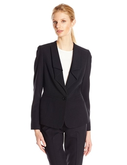 Anne Klein - Stretch One Button Ruffle Suit Jacket