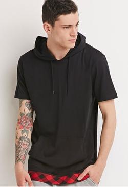 Forever21 - Buffalo Plaid Trim Hooded Shirt