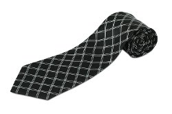 Longtiestore - Extra Long Black Diamond Silk Necktie