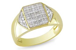 Ice - 1/4 CT Diamond TW Mens Ring Yellow Silver GH I3