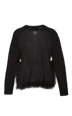 Simone Rocha - Feather-Trimmed Silk-Blend Sweater in Black
