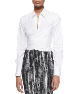 Donna Karan - Long-Sleeve Wrap-Front Blouse