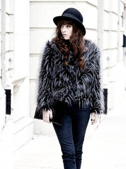 Banggood - Fashion Ostrich Feather Faux Fur Long Sleeve Coat