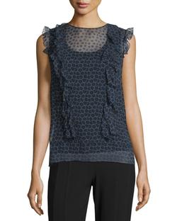 Elie Tahari - Minny Cap-Sleeve Printed Silk Chiffon Blouse