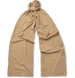 John Smedley   - Helden Knitted Cashmere and Silk-Blend Scarf