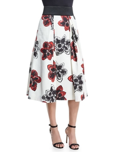 Milly - Katie Magnolia-Print Pleated Midi Skirt