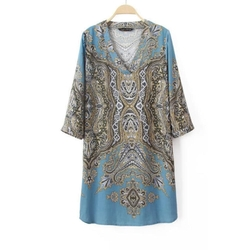 Genuine People - Paisley Print Kaftan Mini Dress