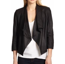Alice + Olivia - Colton Draped Leather Jacket